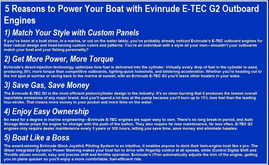 I Dock, ARG Marine, Dealer, New Evinrude outboard motors for sale, Used, Outboard motors, New Boats, Used, Boats, Evinrude, E-TEC, G1, E-TEC G2, Frontier Boats, Service, Yamaha, Honda, Suzuki, Platinum Certified, Factory Warranty, Worldwide Shipping .. Sales Event, Year Factory Warranty w/ Free Controls, Check our website argmarine.com for all current inventory **The website is frequently updated, 7 Year Warranty,7 Year Warranty ,7 Year Warranty,